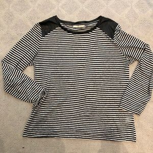 Townsen stripe top with leather shoulder detail
